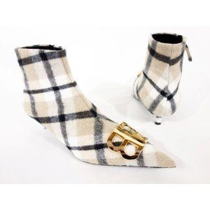 BALENCIAGA 36.5 40mm Bb Checked Flannel Ankle Boot